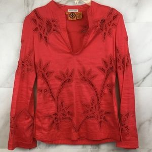 Tory Burch Coral Eyelet Tunic- size 4